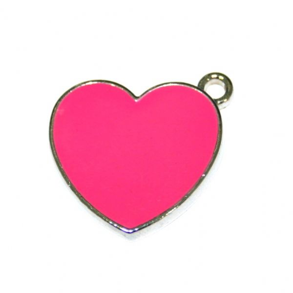 1 x 19*19mm rhodium plated pink colour heart enamel charm - SD03 - CHE1016